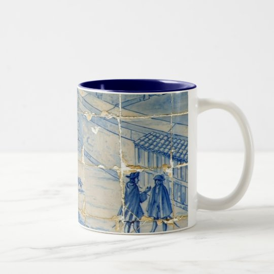 Blue tile (Full picture) Two-Tone Coffee Mug