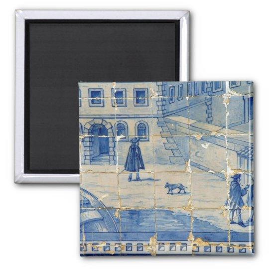 Blue tile magnet