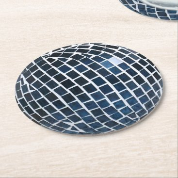 Beach Themed Blue Tile Mosaic Round Paper Coaster