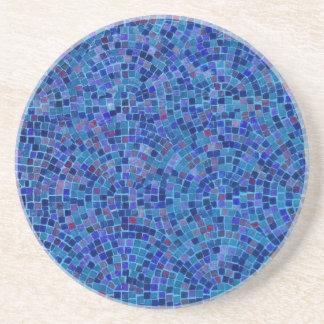 blue tile pattern sandstone coaster