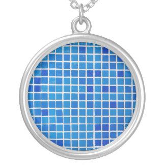 Blue Tile Round Pendant Necklace