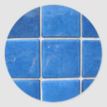 blue tile round stickers