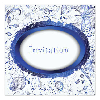 blue tile wedding invitation