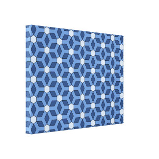 Blue Tiled Hex Canvas