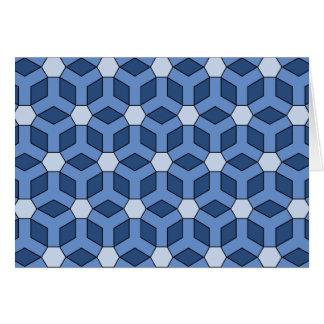 Blue Tiled Hex Greeting Gard Card