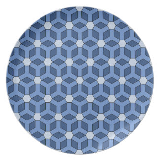 Blue Tiled Hex Plate