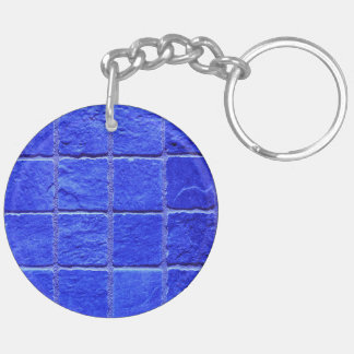 Blue tiles background keychain