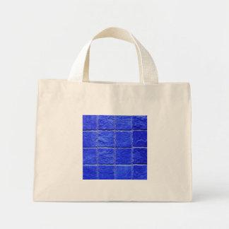 Blue tiles background mini tote bag