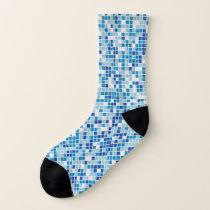Blue tiles background socks