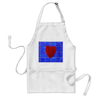 Blue tiles background with heart adult apron