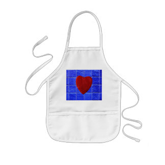 Blue tiles background with heart kids' apron