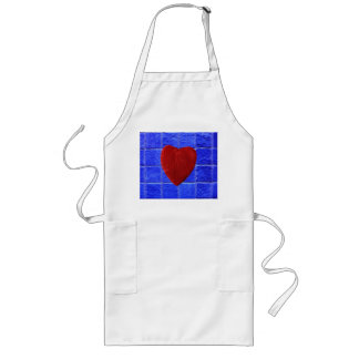 Blue tiles background with heart long apron