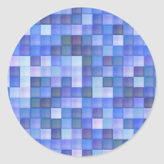 Blue Tiles Classic Round Sticker