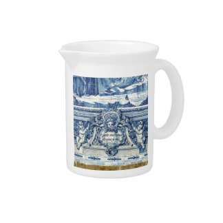 Blue tiles from Portugal Beverage Pitcher