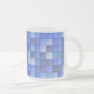 Blue Tiles Frosted Glass Coffee Mug