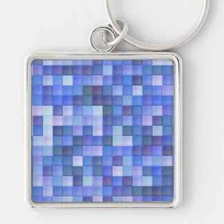 Blue Tiles Silver-Colored Square Keychain