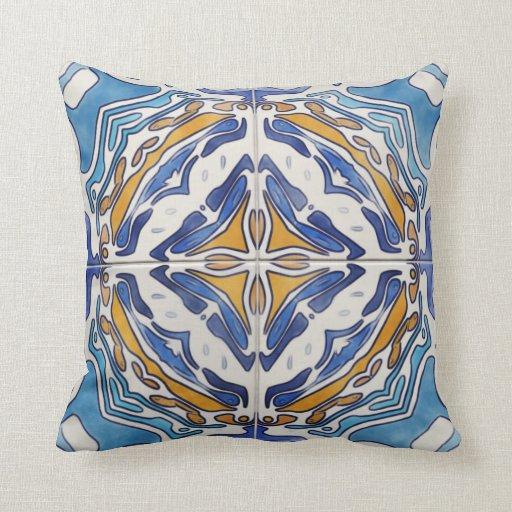 Throw Pillow Zazzle : Blue Tiles Throw Pillow Zazzle