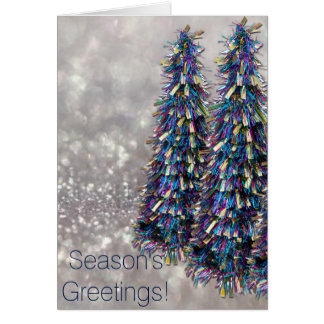 Blue Tinsel Christmas Trees Card
