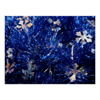 Blue Tinsel Silver stars Christmas Background Posters