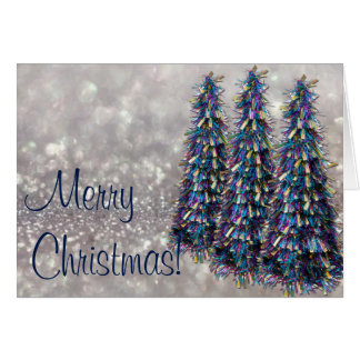 Blue Tinsel Trees Christmas Card