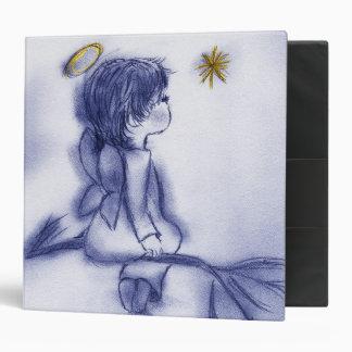 blue tint angel wishing 3 ring binder