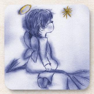 Blue Tint Angel Wishing Beverage Coaster