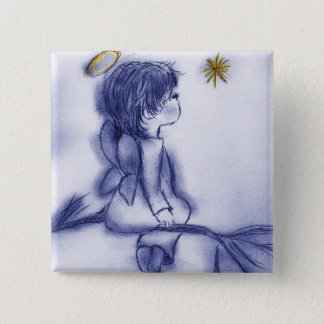 blue tint angel wishing button