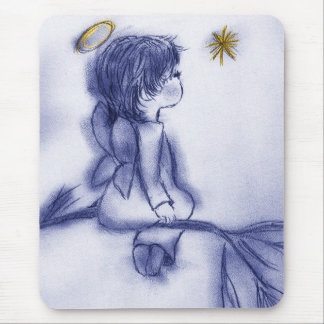 blue tint angel wishing mouse pad