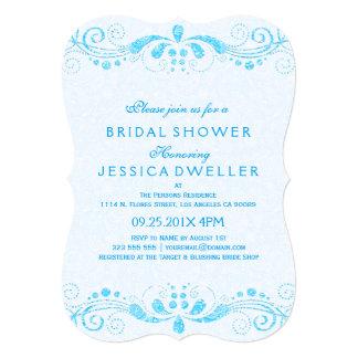 Blue Tint & Blue Floral Lace Bridal Shower Invite
