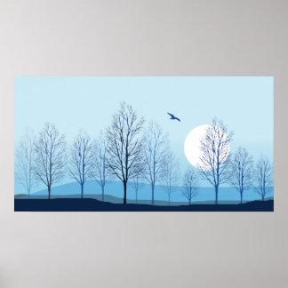 Blue Tint Nature Landscape Print