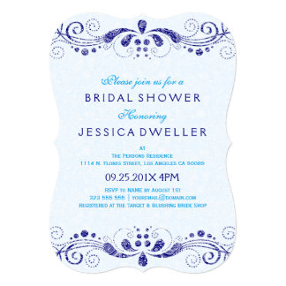 Blue Tint & Navy-Blue Lace Bridal Shower Invite