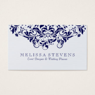 Blue Tint & Navy Blue Vintage Floral Swirls Lace Business Card