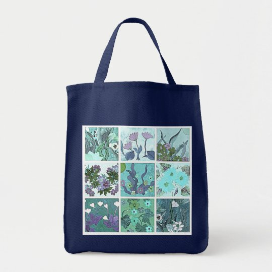 Blue tinted 9 patch floral tote bag