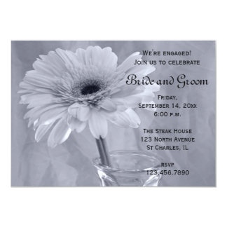 Blue Tinted Daisy Engagement Party Invitation