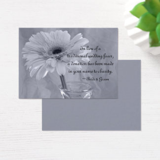 Blue Tinted Daisy Wedding Charity Favor Card