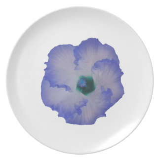 Blue tinted hibiscus flower dinner plates