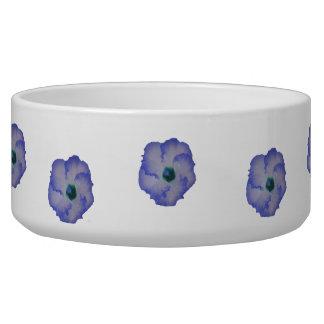 Blue tinted hibiscus flower dog bowl