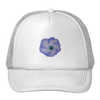 Blue tinted hibiscus flower mesh hat
