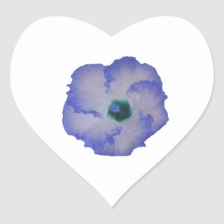 Blue tinted hibiscus flower heart sticker