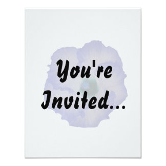 Blue tinted hibiscus flower 4.25x5.5 paper invitation card