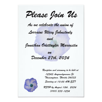 Blue tinted hibiscus flower 5x7 paper invitation card