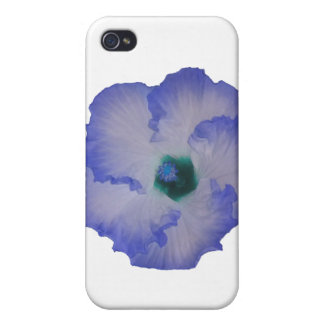 Blue tinted hibiscus flower iPhone 4 cases