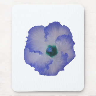 Blue tinted hibiscus flower mouse pad