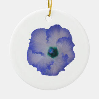 Blue tinted hibiscus flower Double-Sided ceramic round christmas ornament