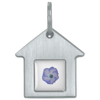 Blue tinted hibiscus flower pet name tags