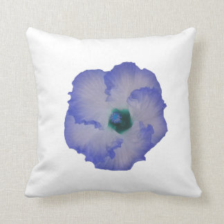 Blue tinted hibiscus flower pillow