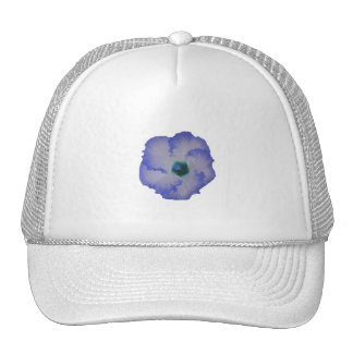 Blue tinted hibiscus flower trucker hat