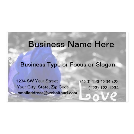 Blue tinted rose on silver back with Love text Business Card