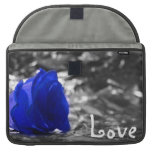 Blue tinted rose on silver back with Love text MacBook Pro Sleeves