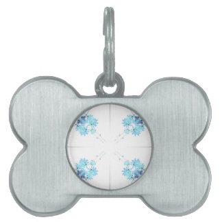 Blue tinted wildflower scan 4 up pet name tag